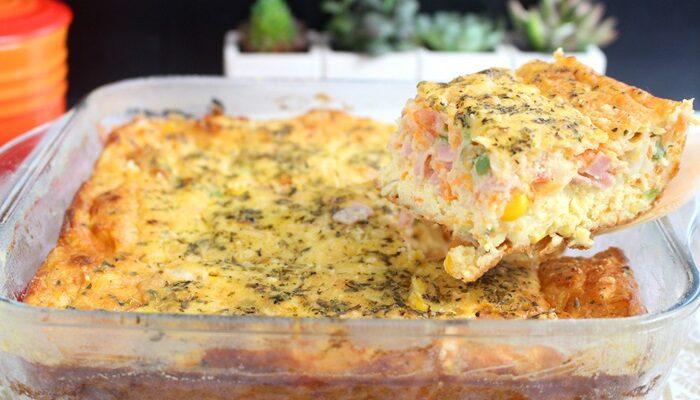 Omelete de forno completa, fácil e rápido
