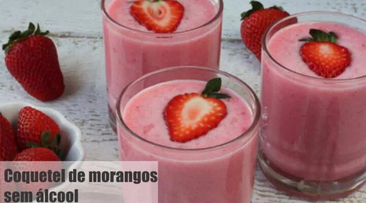 Coquetel de Morango sem álcool