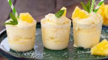 Sorvete cremoso de abacaxi caseiro